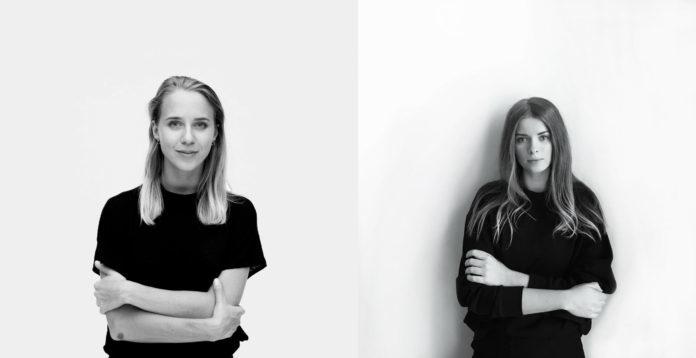 Dwa czarnobiale zdjecia portrety dwoch mlodych kobiet