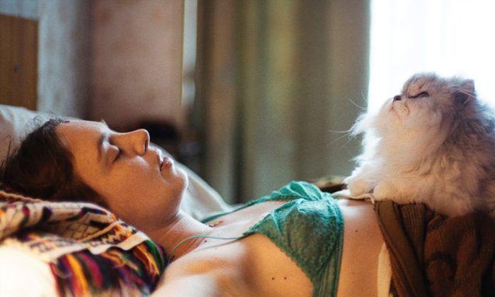 Kobieta leżąca na łóżku, a na jej brzuchu leży kot