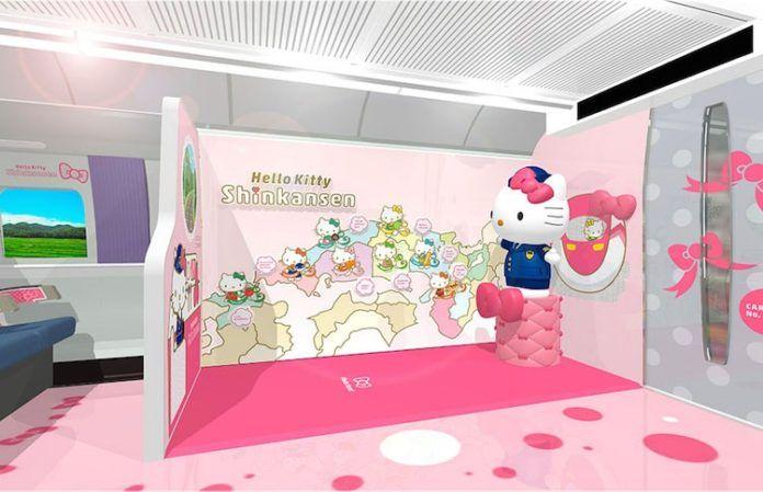 Wizualizacja wnętrza z różowymi ścianami i wizerunkami białego kota na ścianach.