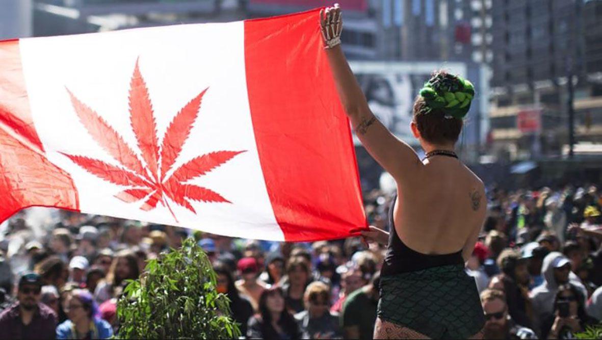 kobieta w Kanadzie trzymajaca flage Kanady z symbolen marijuana przed tlumem ludzi