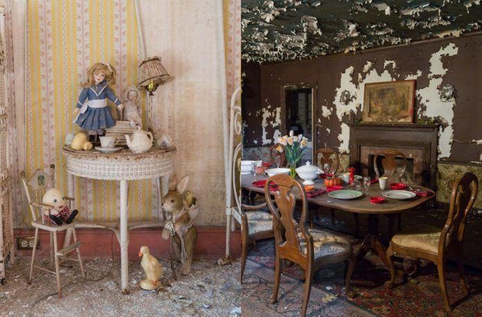 Dwa zdjęcia przedstawiające opusczony dom