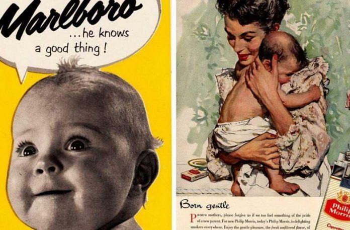 Dwie reklamy przedstawiające dzieci z papierosami