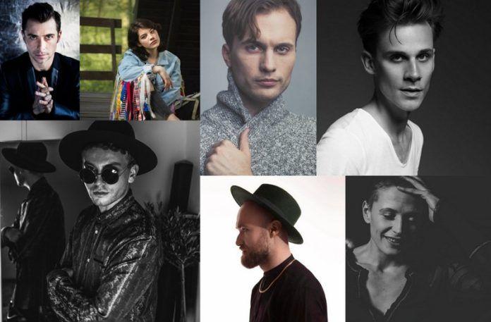 Zdjęcia przedstawiające siedmiu polskich artystów