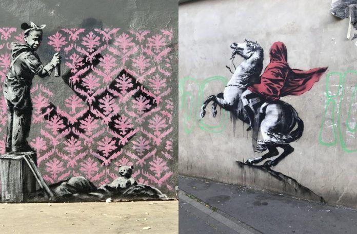 Dziewczynka zamalowująca swastykę i postać zasłonięta peleryną na koniu