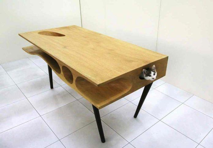 Biurko z kotem w środku