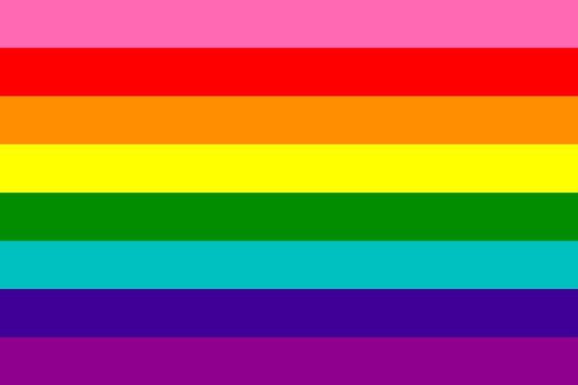 Obrazek przedstawiający oryginalną flagę środowiska LGBT zaprojektowaną przez Bakera w 1978 roku.