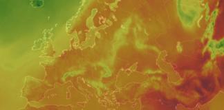 Mapa przedstawiająca upał w Europie