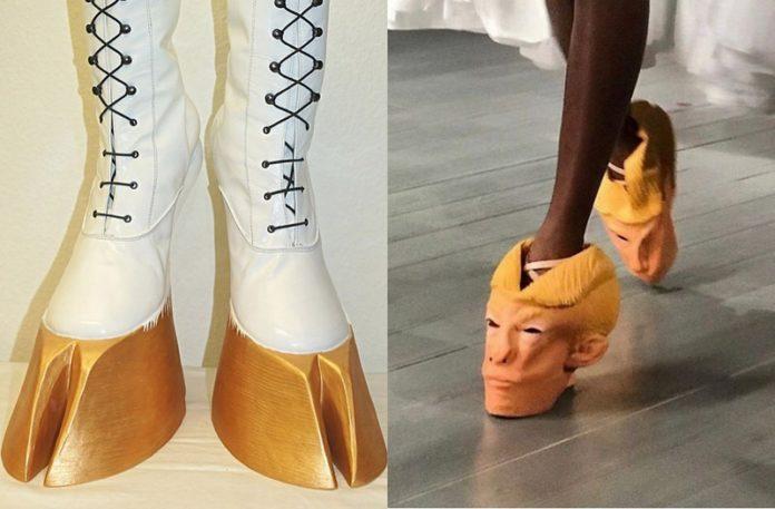 Buty w kształcie kopytek i buty w kształcie głowy człowieka