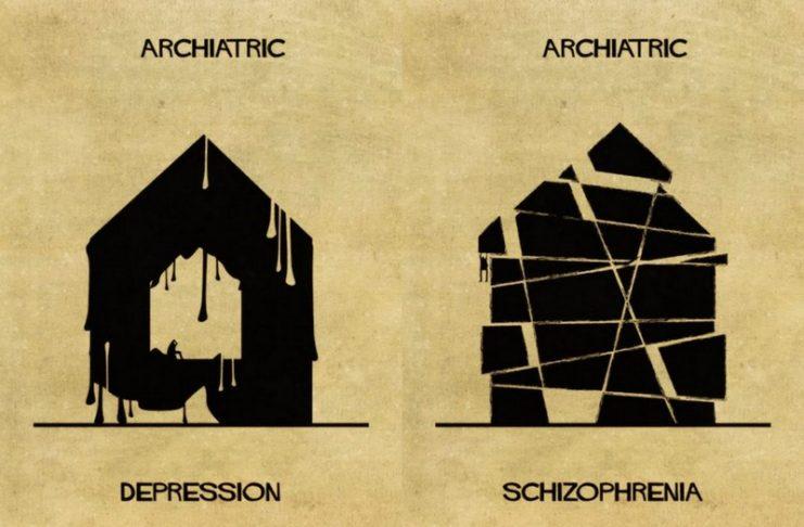 Ilustracja przedstawia wizualną interpretację artysty schorzen psychicznych