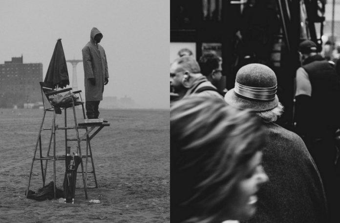 Czarno-białe zdjecia: mężczyzna stojąc na stanowisku ratownika i kobieta w kapeluszu idąca w tłumie