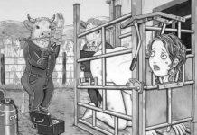 Czarno-biała ilustracja przedstawiająca kobietę w klatce i zwierzęta obok