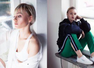 Dwa zdjęcia blondynki w białej bluzce i w czarnej bluzie i zielonych spodniach
