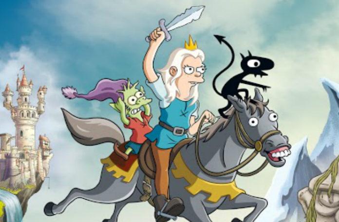 Animowana księżniczka z mieczem na koniu