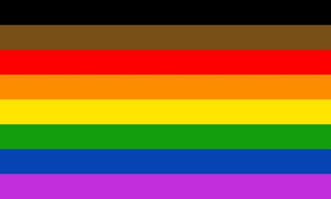 Projekt nowej flagi ruchu LGBT LGBTQ+ z dodanymi dwoma pasami - brązowym i czarnym, które odwołują się do nieheteronormatywnych osób kolorowych.