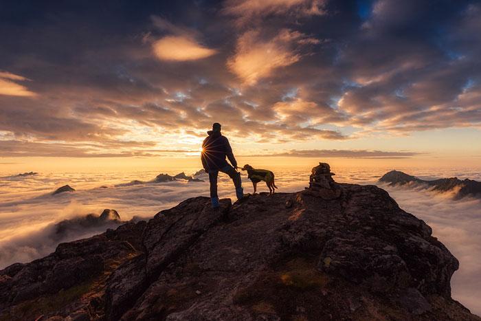 człowiek z psem stoją na szczycie skalistej góry oglądając panoramę zachodzącego słońca