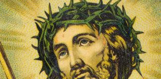 Rysunek mężczyzny w koronie cierniowej