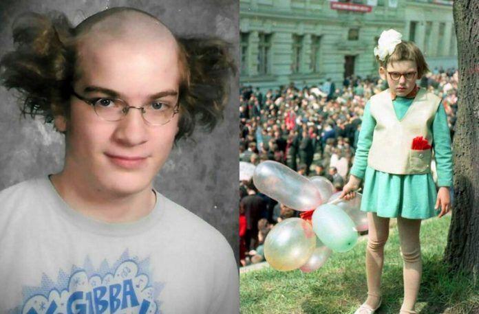 Zdjęcie mężczyzny z wygoloną głową na środku i włosami po bokac i chłopiec w dziwnej sukience