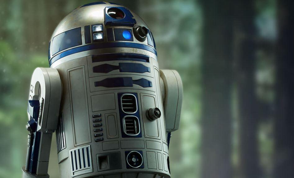 R2-D2 robot bialy i niebieski kolor na jego glowie
