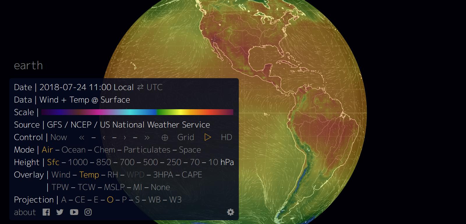 Widok na interaktywny globus
