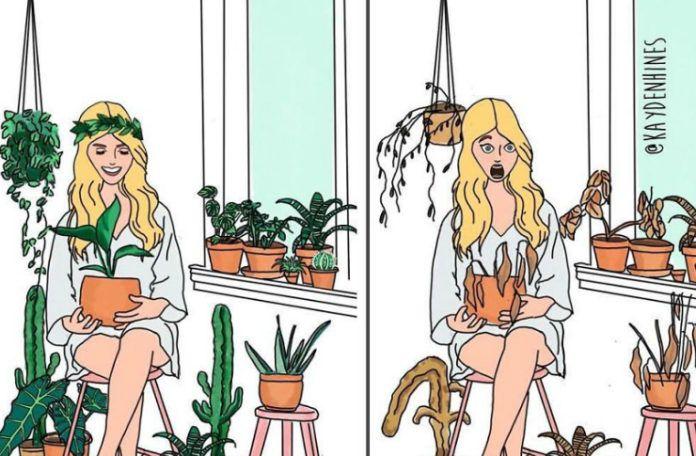 Rysunek kobiety z zielonymi roślinami i obok z uschniętymi