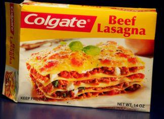 Tekturowe opakowanie Colgate z lasagne