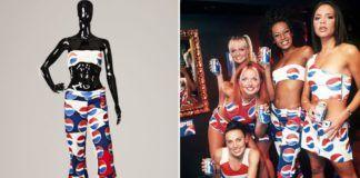Pięć dziewczyn ubranych w kostiumy z motywem Pepsi i manekin