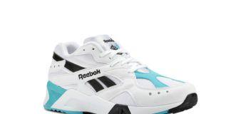 Biały but reebok z niebieskimi wykończeniami