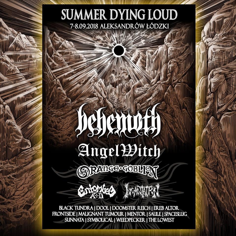 Plakat promujący festiwal Summer Dying Loud w Aleksandrowie Łódzkim z czarnym słońcem i doliną w tle