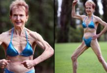 Mężczyzna mierzący umięśnioną starszą kobietę w niebieskim bikini