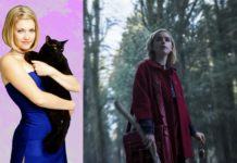 Dziewczyna w czerwonej pelerynie w środku lasu obok na różowym tle dziewczyna z kotem na rękach