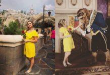 Dziewczyna w żółtej sukience, obok bestia z filmu Piękna i Bestia