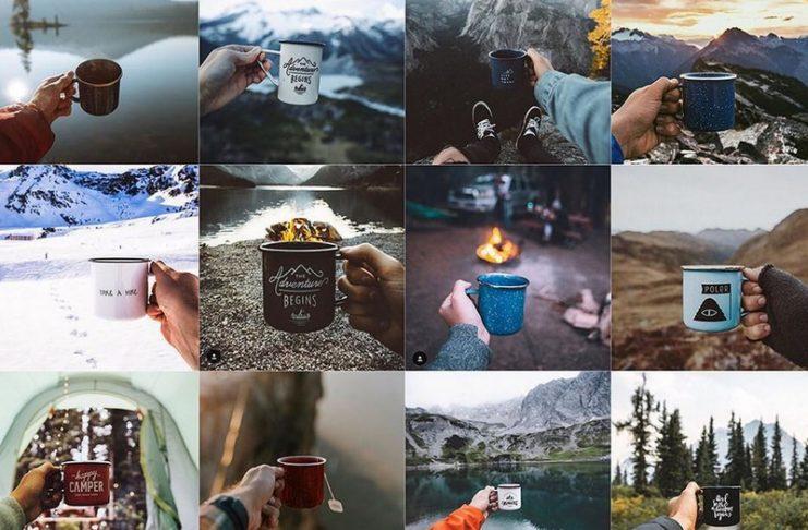Kilkadziesiąt zdjęć przedstawiających dłonie trzymające kubek