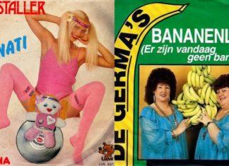 Dziewczyna w dziwnym różowym kostiumie i kobiety trzymające banany