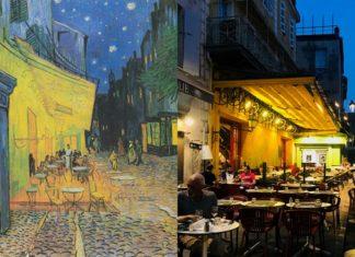 Obraz przedstawiający uliczkę nocą i to samo miejsce w realnym świecie