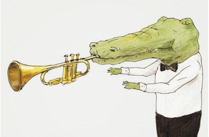 rysunek przedstawiający krokodyla próbującego grać na trąbce, ale z powodu długiego nosa nie jest w stanie
