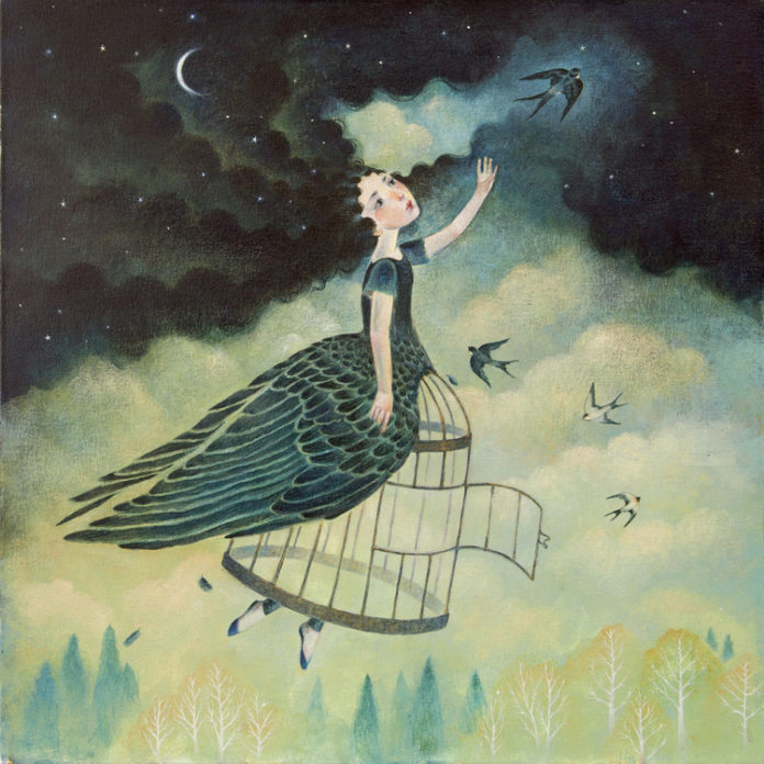 Na zdjeciu widzimy ilustracje dziewczyny ktorej wlosami sa czarne chmury i noc, jej sukienka to skrzydla ptakow wylatujace z klatki