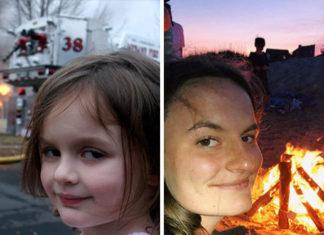 Po lewej mała dziewczynka na tle pożaru, po prawej ta sam dziewczyna kilka lat później na tle ogniska