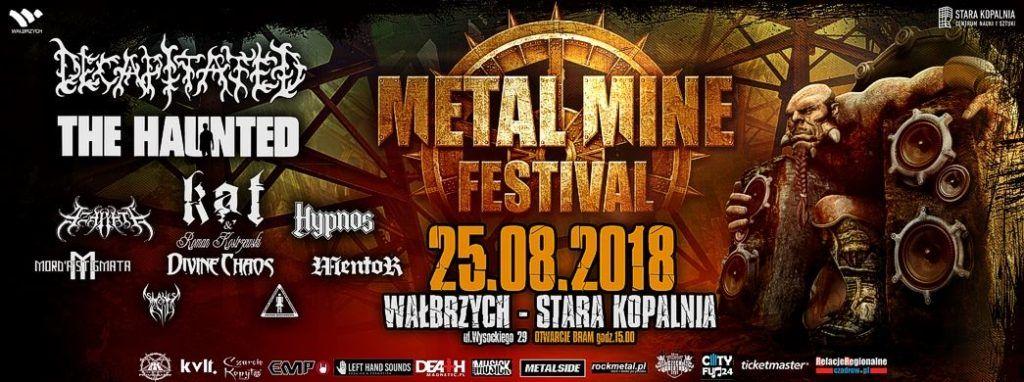 Plakat promujący festiwal Metal Mine z dużym orkiem siedzącym na tronie