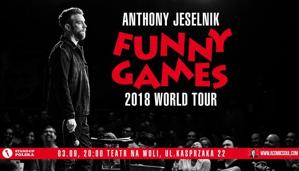 Plakat występu Anthony'ego Jeselnika w Warszawie