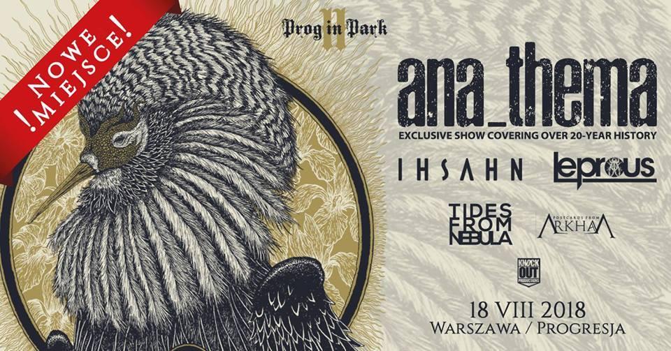Plakat promująy festiwal Prog in Park II z lineupem i grafiką z ptakiem