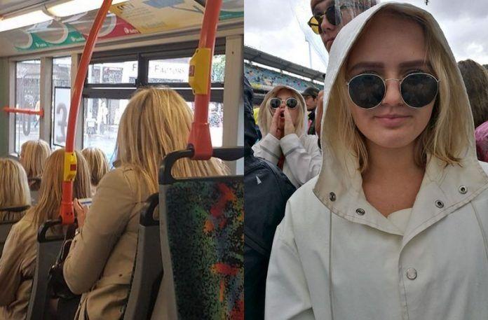 Trzy takie same kobiety w jednym autobusie i dziewczyna ubrana tak samo, jak dziewczyna za nią