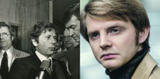 Czarno-białe zdjęcie mezcyzny z mikrofonem i obok zdjęcie młodego mężczyzny z blond włosami w jasnej kurtce