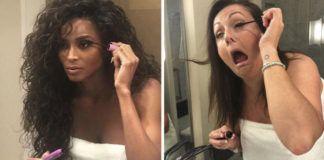po lewej celebrytka, malująca oczy przed lustrem, po prawej zdjęcie kobiety robiącej to samo ale z powykrzywianą twarzą