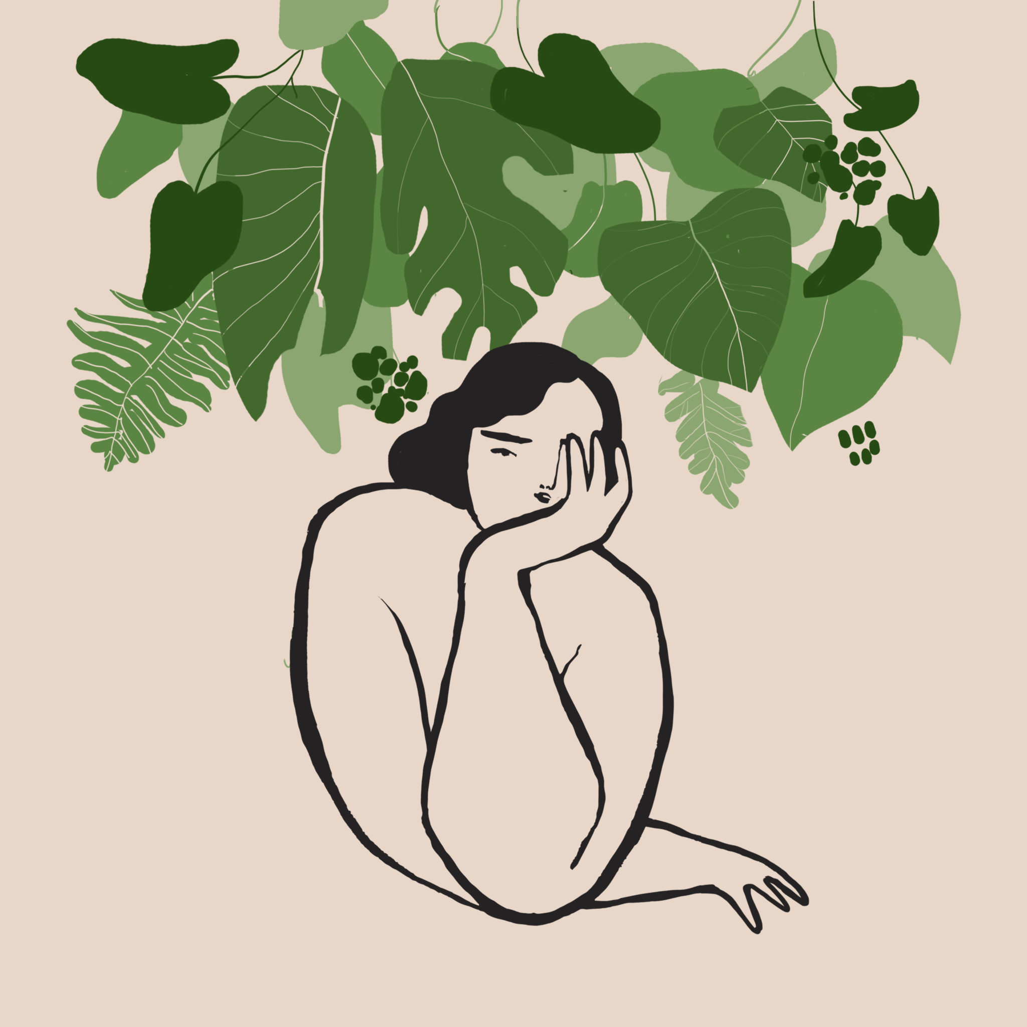 Na zdjeciu widzimy ilustracje nagiej kobiety o rubensowskich ksztaltach w pozycji zamyslonej nad nia widzimy mnostwo zielonych lisci