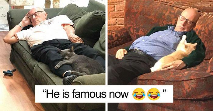 Starszy mężczyzna śpiący na kanapie z kotem