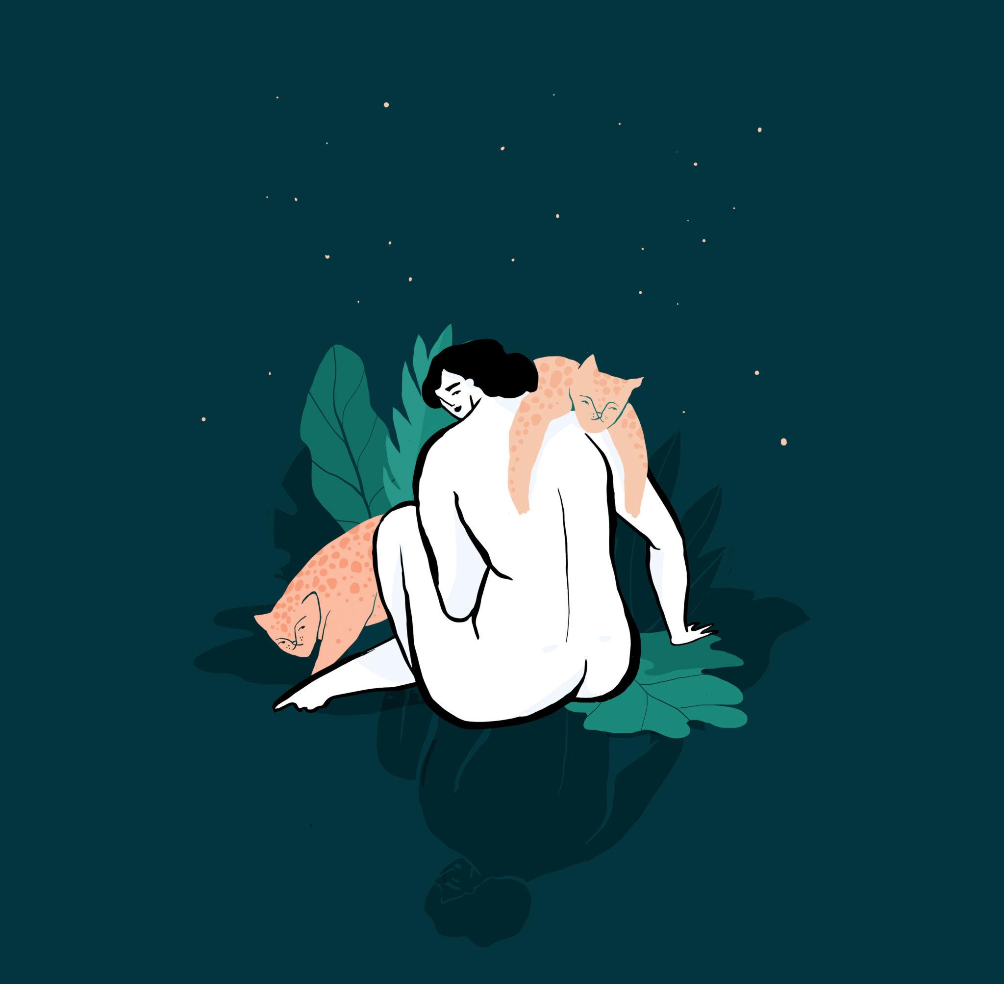 Na zdjeciu widzimy ilustracje golej kobiety odwroconej placeami o rubesowskich ksztaltach z ltygrysem zarzuconym przez ramie