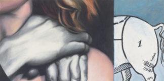 Obraz w pastelowych barwach, podzielony na dwie części. Na lewej części obrazu widać ramię kobiety,trochę rudych włosów i zarzucone białe ręce,mocno cieniowane. Na prawej części obrazu znajduje się rysunkowy tył zwierzęcia z ogonem, tło jest niebieskie.