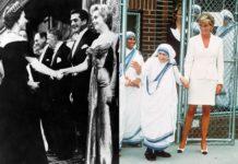 Czarno białe zdjęcie dwóch witających się kobiet i zdjęcie siostry zakonnej z kobietą ubraną na biało