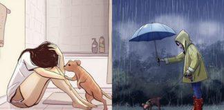 Dwie grafiki przedstawiające kobietę z psem