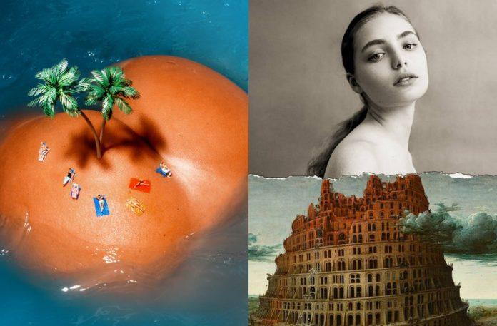 Damska pupa udająca wyspę i kobieta, której tułów został zastąpiony obrazem z wieżą Babel